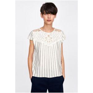 NWT Zara Size S Crochet Striped Top
